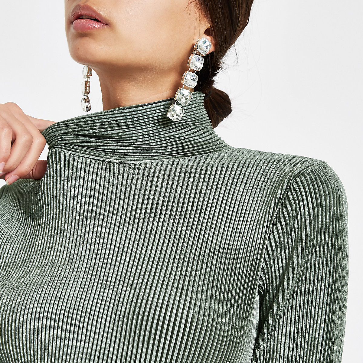 Green velvet plisse high neck top