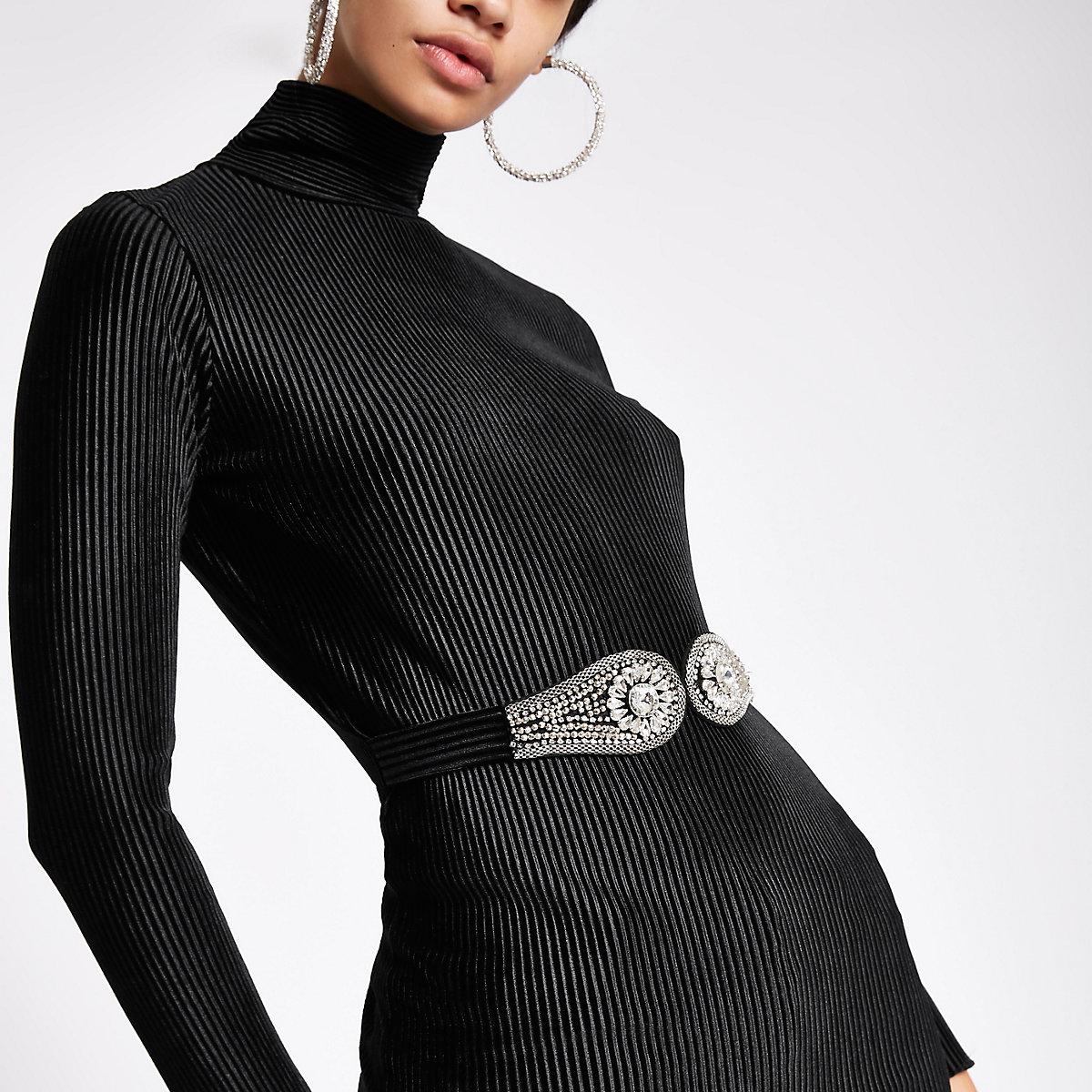 Black velvet pleated rhinestone belted top