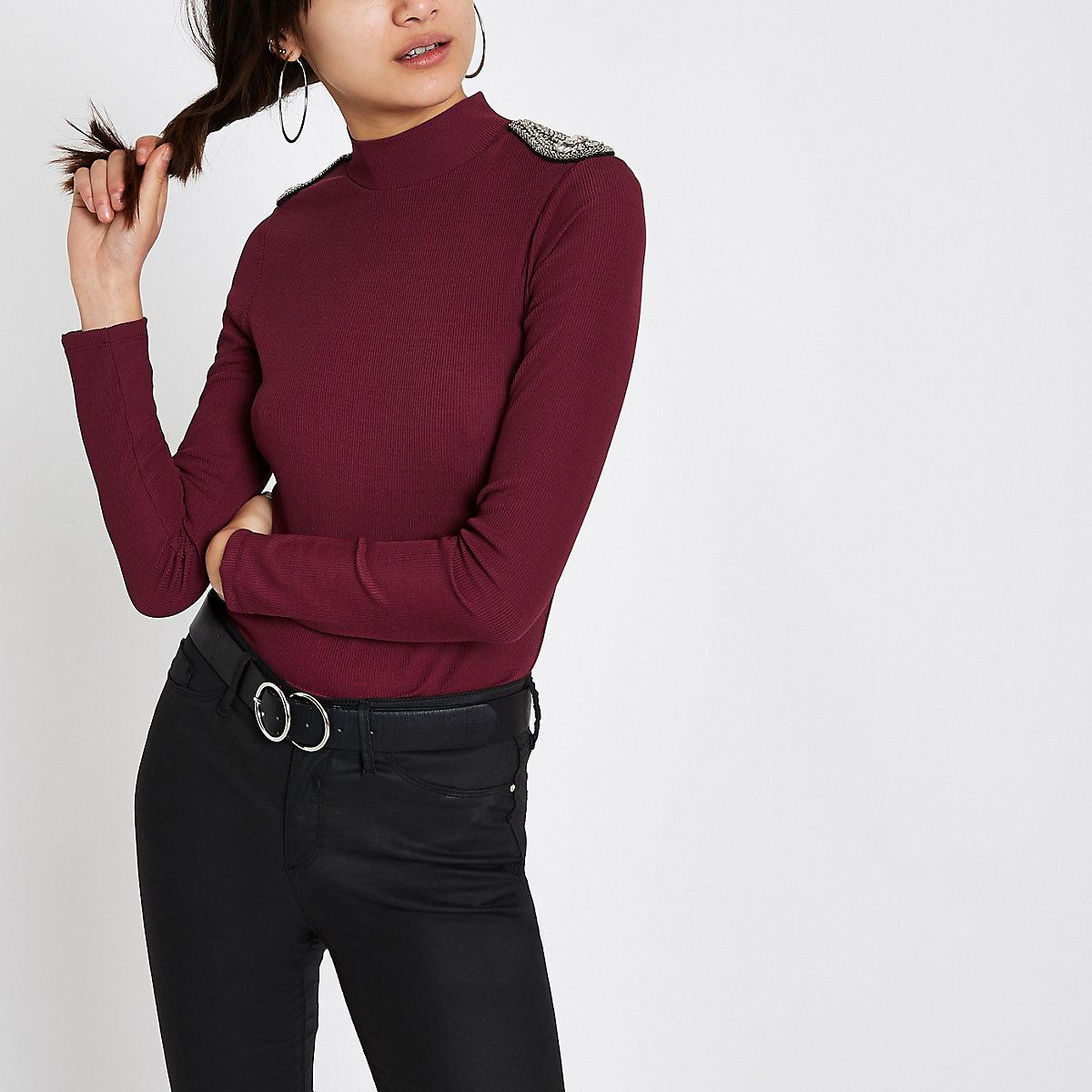 Burgundy rhinestone embellished shoulder top