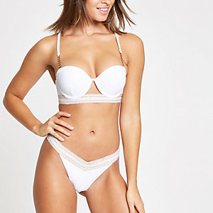 White glitter trim high leg bikini bottoms