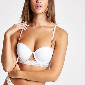 White elastic trim balconette bikini top