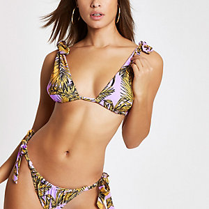 Purple floral bow triangle bikini top