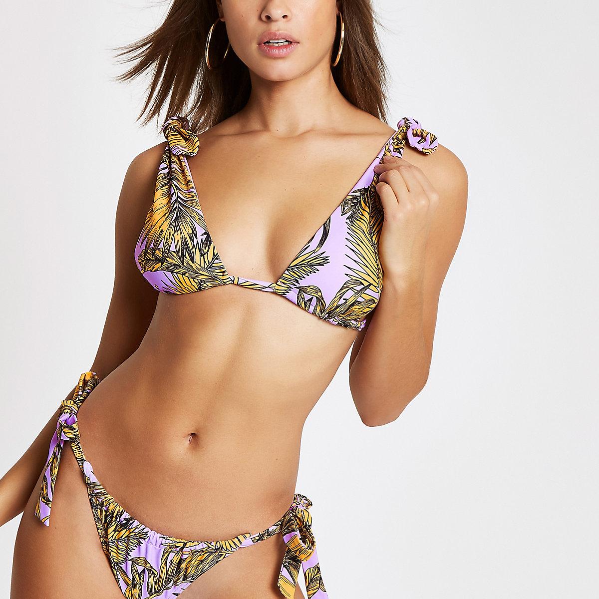Purple floral bow triangle bikini top