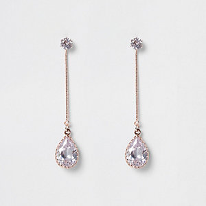 Rose gold tone cubic zirconia drop earrings
