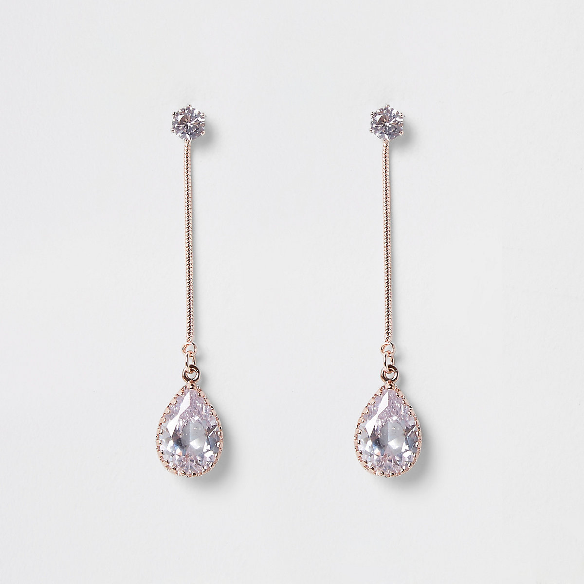 Rose gold tone cubic zirconia drop earrings