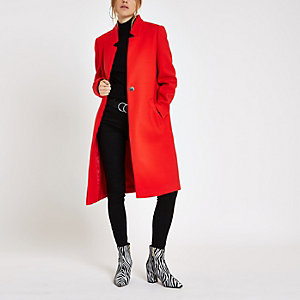 Manteau long rouge sans col