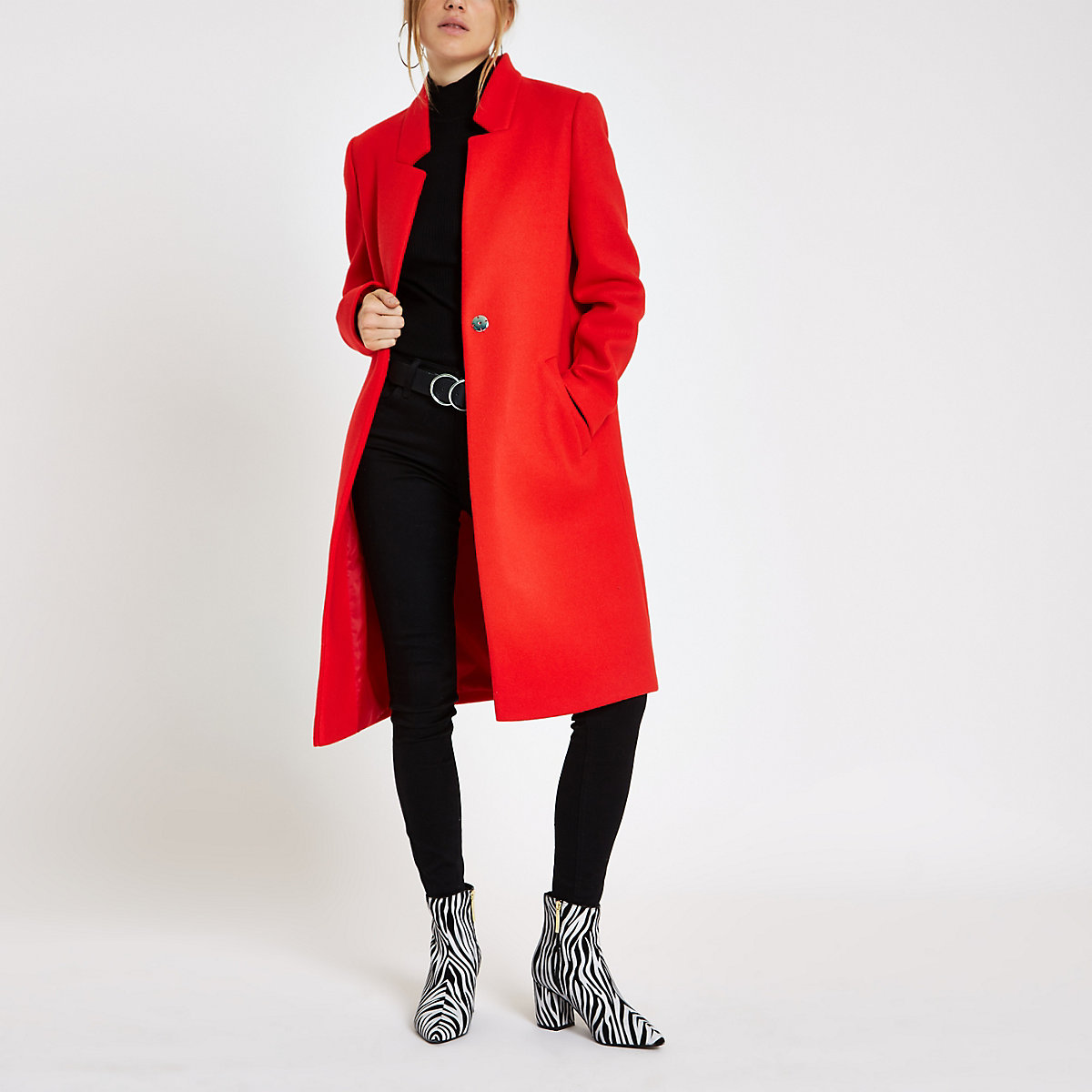 Red collarless longline coat