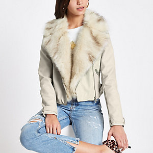 Cream faux fur trim biker jacket