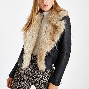 Black faux fur trim biker jacket