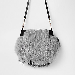 Grey leather Mongolian fur cross body bag