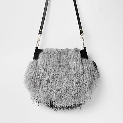 Womens Grey Leather Mongolian Fur Cross Body Bag