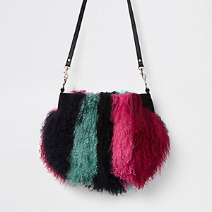 Dark red stripe Mongolian fur cross body bag