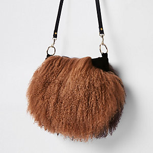 Brown leather Mongolian fur cross body bag