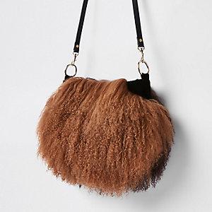 Brown leather Mongolian fur cross body bag