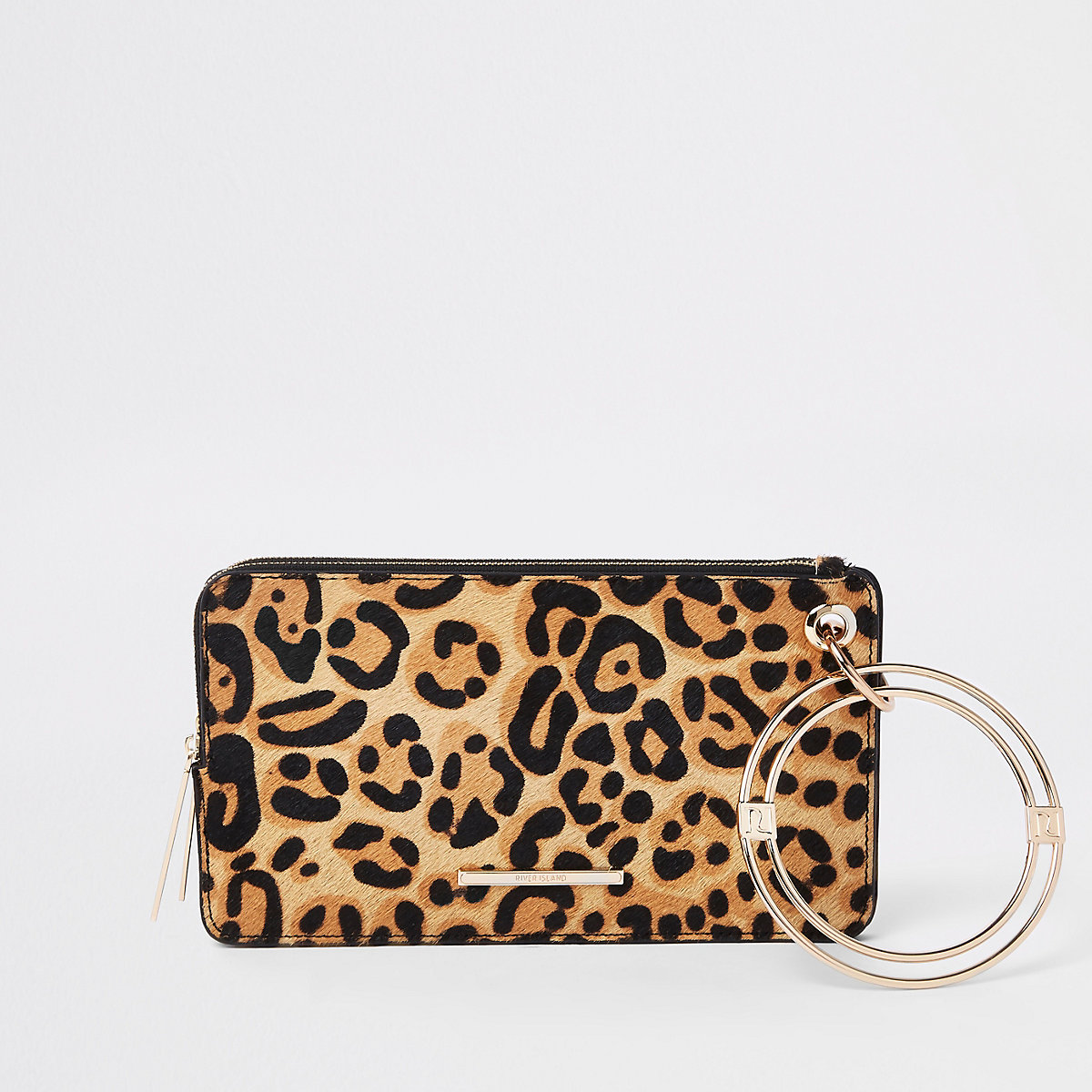 Black leather leopard print wristlet pouch