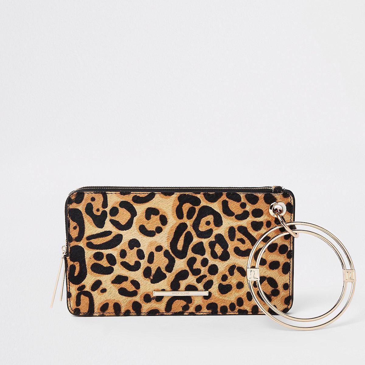Black leather leopard print wristlet pouch