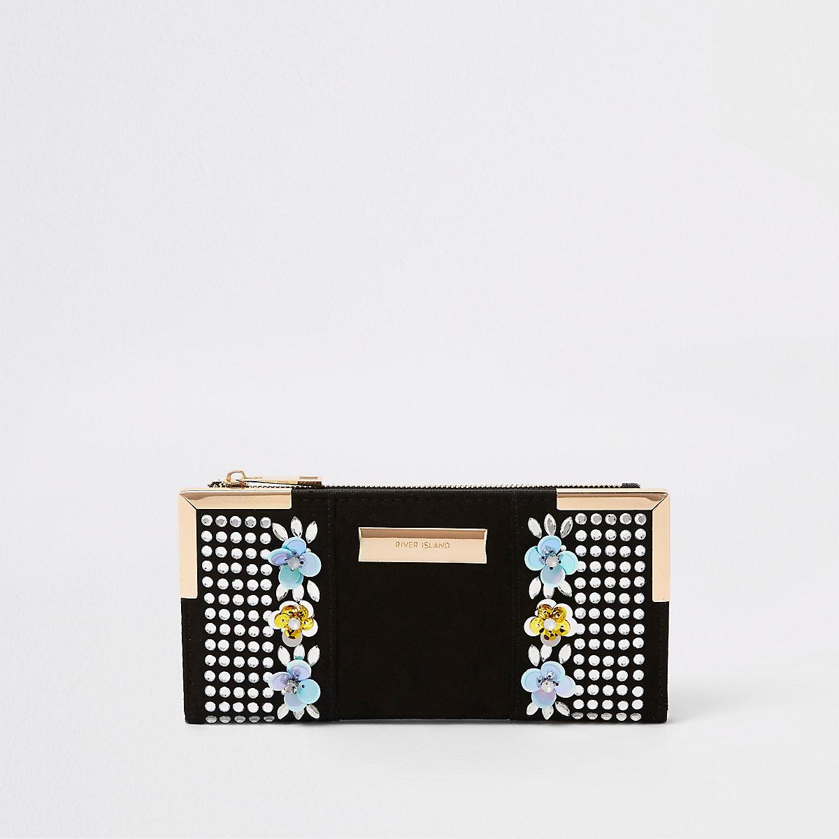 Black sequin embellished foldout purse