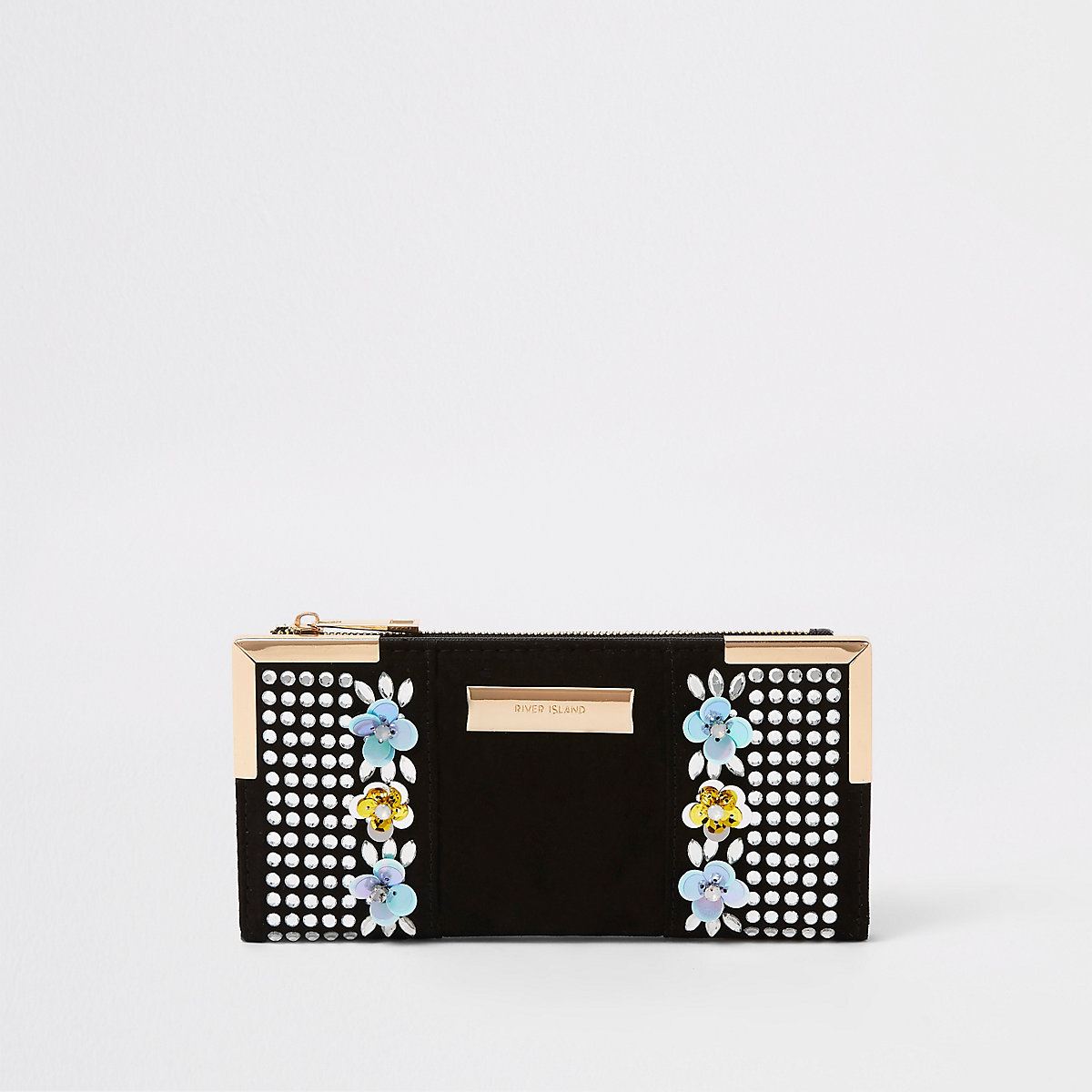 Black sequin embellished foldout purse