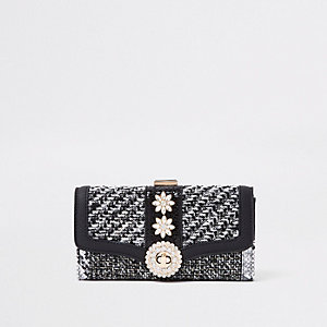 Black check jewel embellished clip top purse