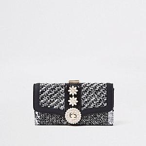 Porte-monnaie à carreaux noir orné de strass avec fermoir clip