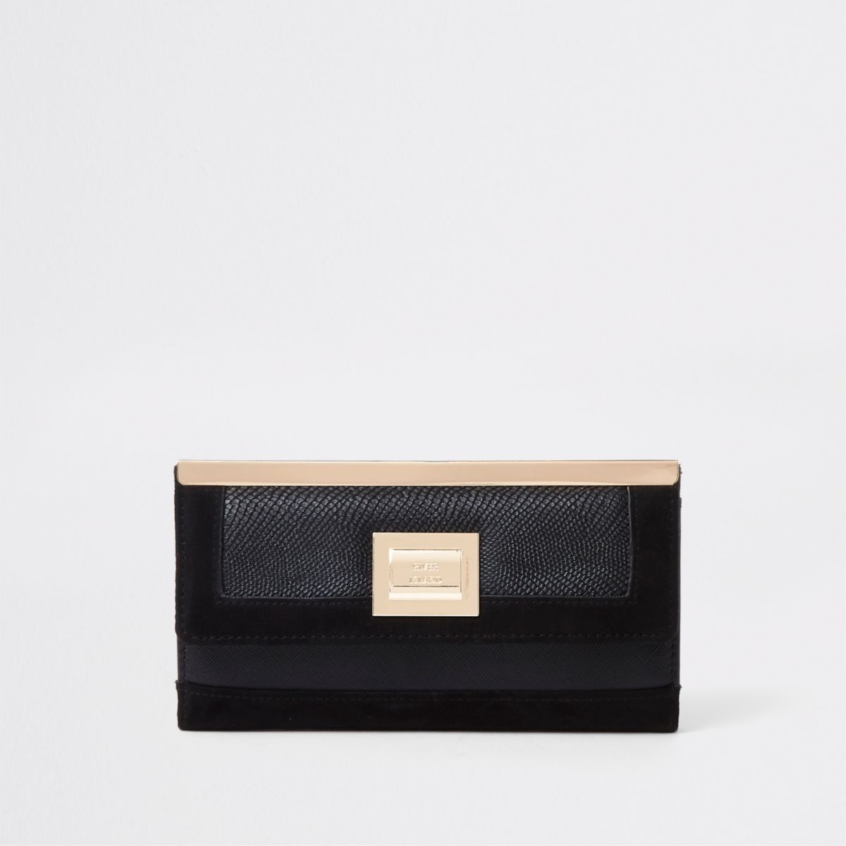 Black pocket front foldout purse