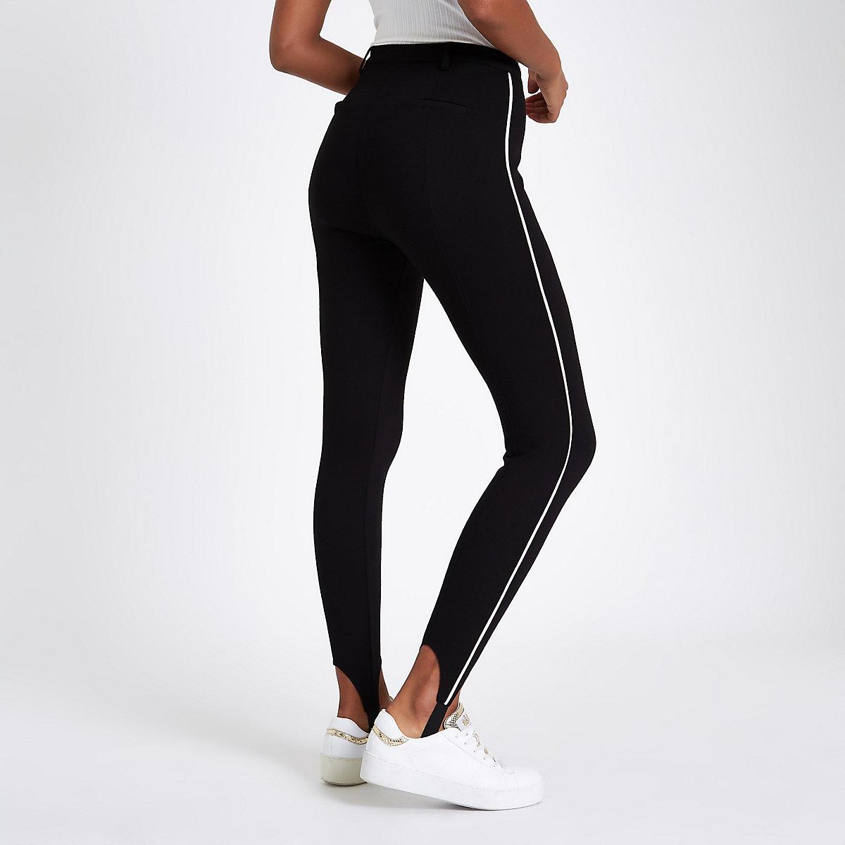 Pantalons Skinny Noir Le Rayure À Côté Fuseau Legging Sur O0qqg