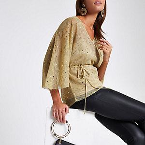 Top kimono à sequins dorés