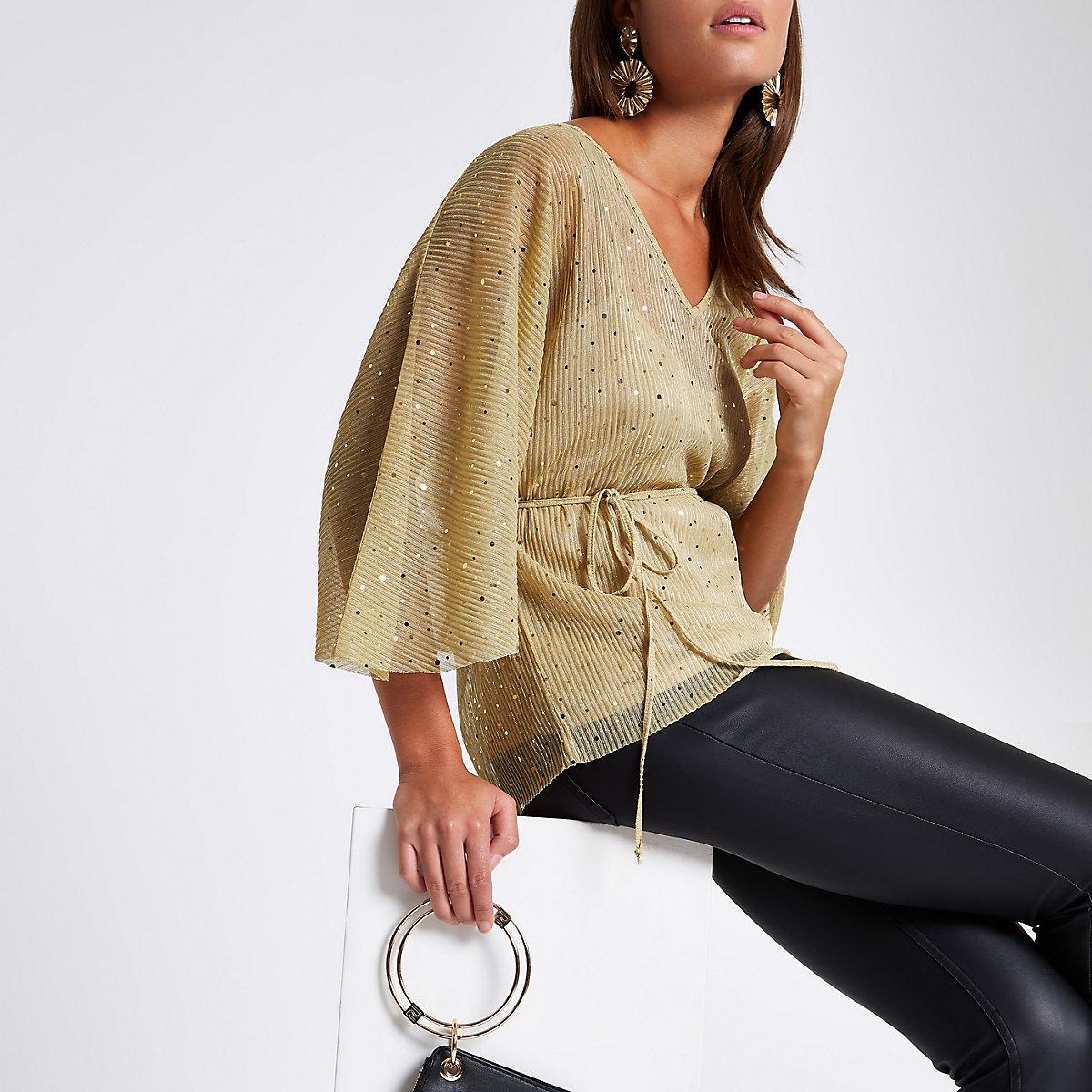 Gold sequin kimono top