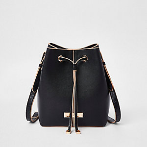Black faux leather drawstring duffle bag