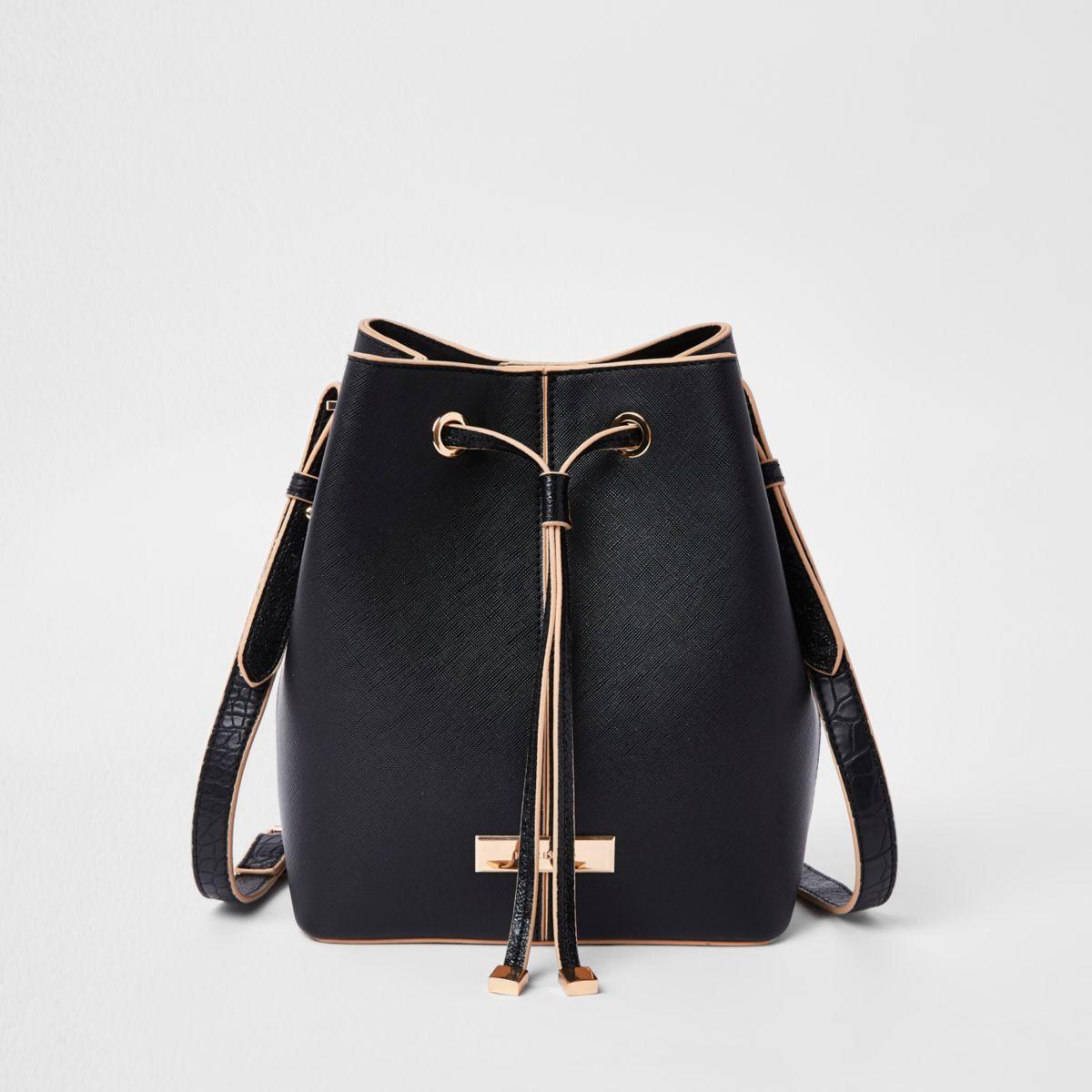 Black faux leather drawstring duffle bag