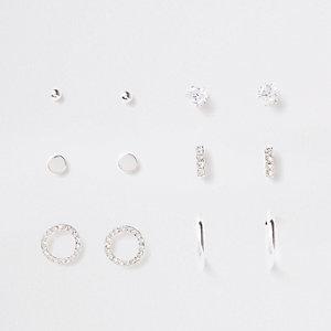Silver tone diamante stud multipack