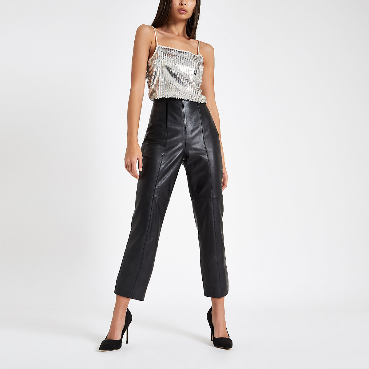 Silver sequin cami top