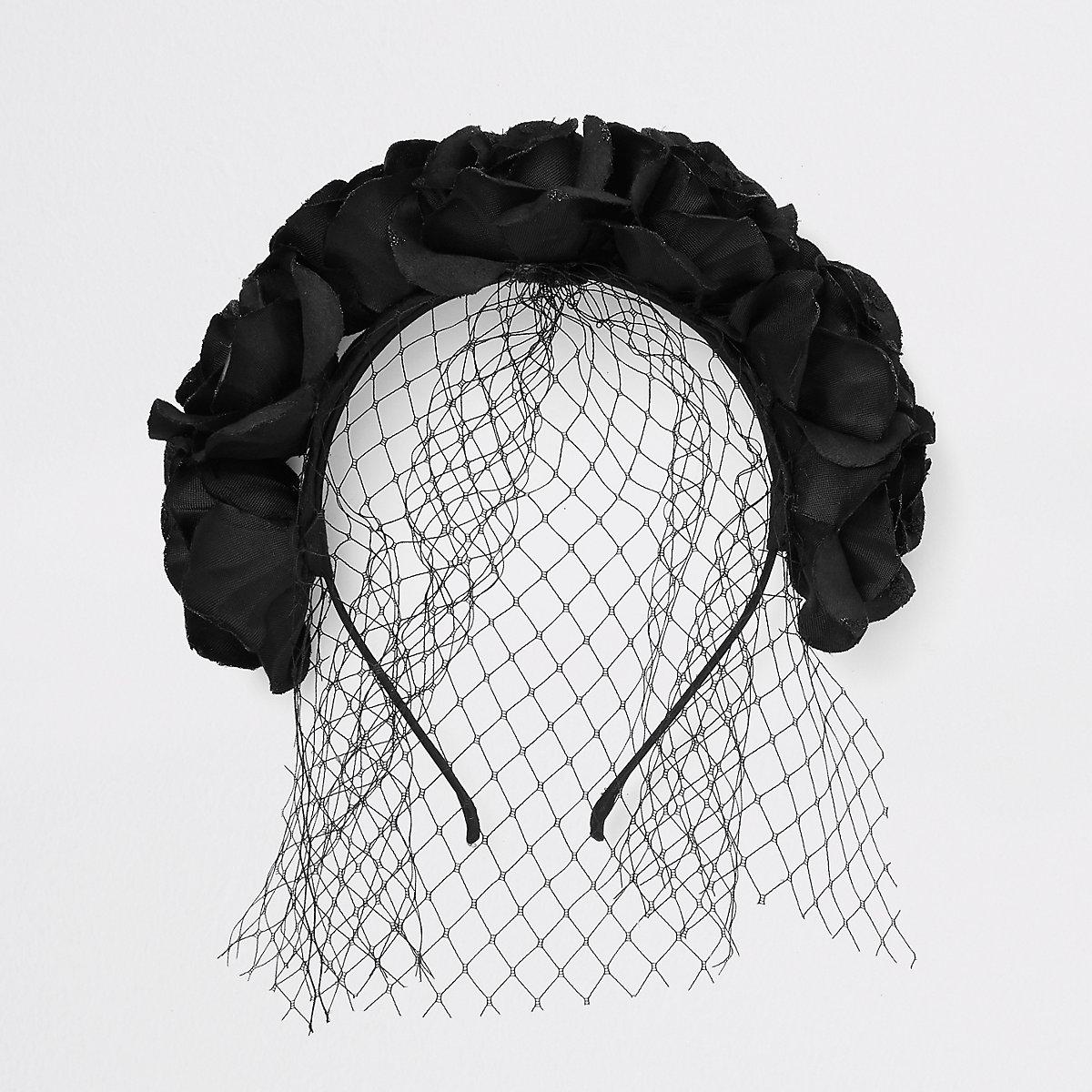 Black flower garland headband