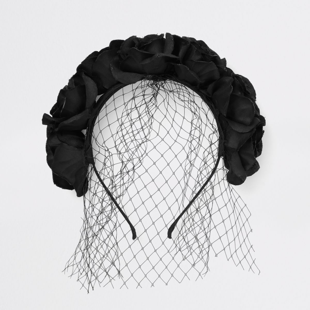 Black flower garland head band
