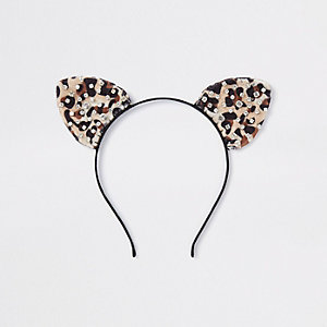 Brown leopard print cats ears headband