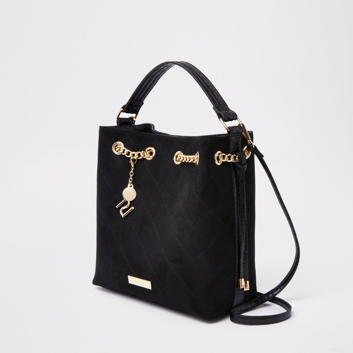 Black chain quilted bucket bag
