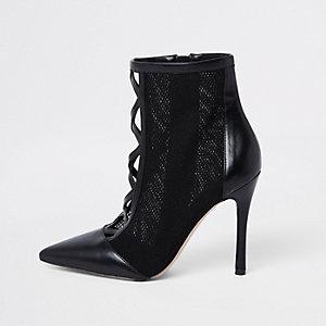 Zwarte enkellaarsjes van mesh met stilettohak