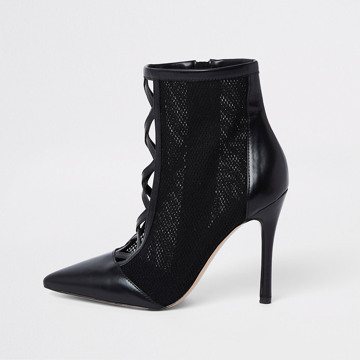Black mesh stiletto heel ankle boots
