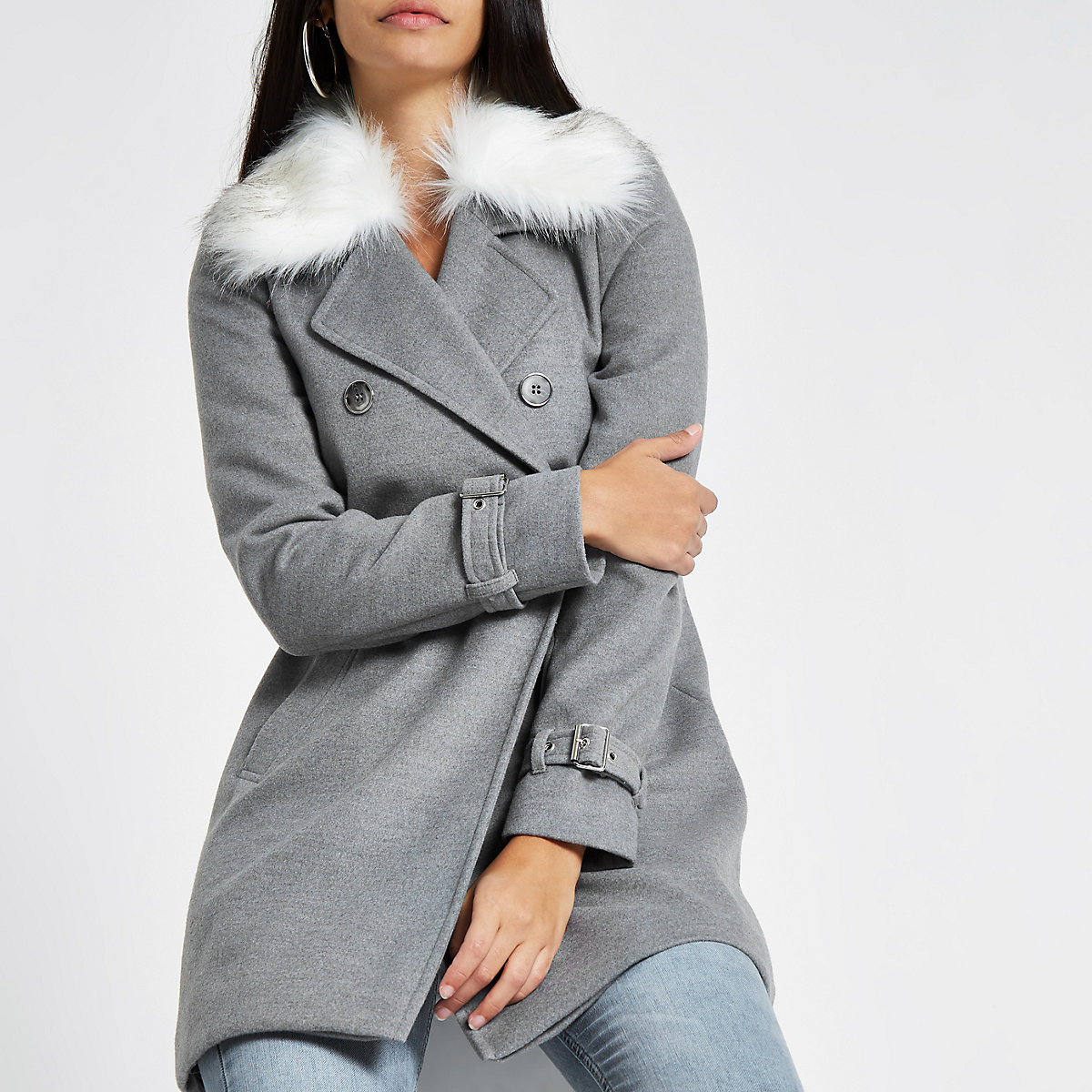 Grey faux fur collar coat