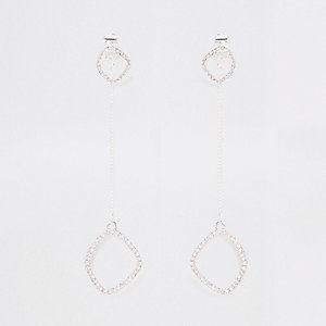 Silver tone front and back drop earrings