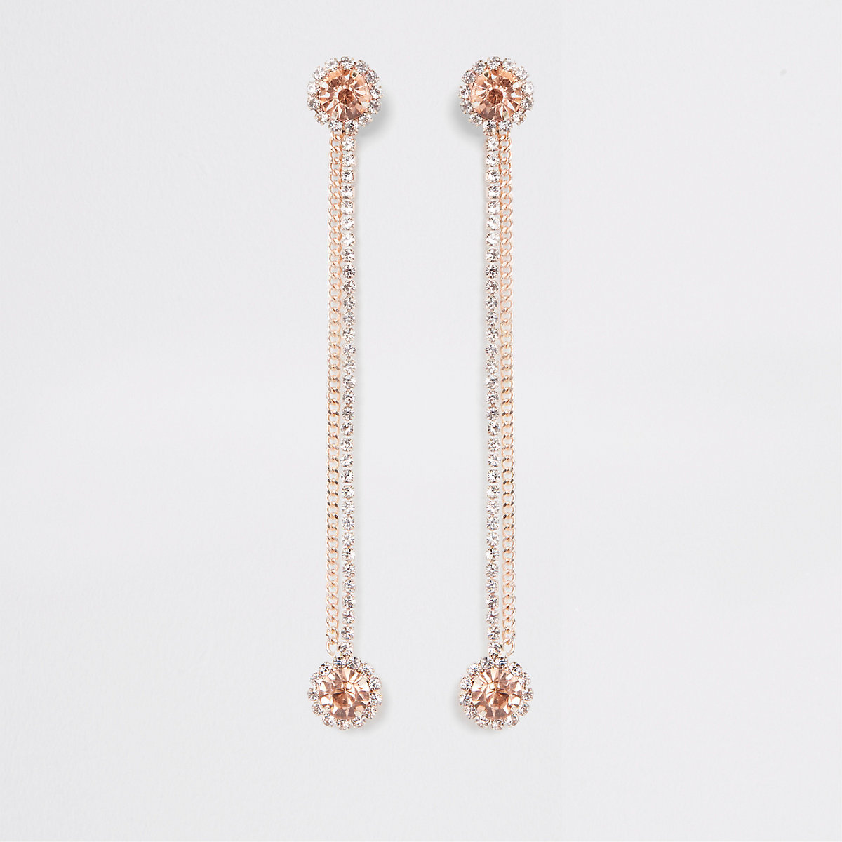 Rose gold tone front and back drop earrings