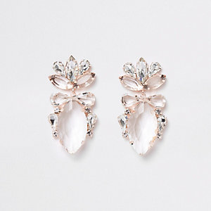 Rose gold tone jewel drop earrings