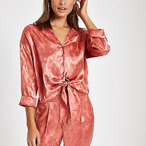 Pink jacquard tie front pajama shirt