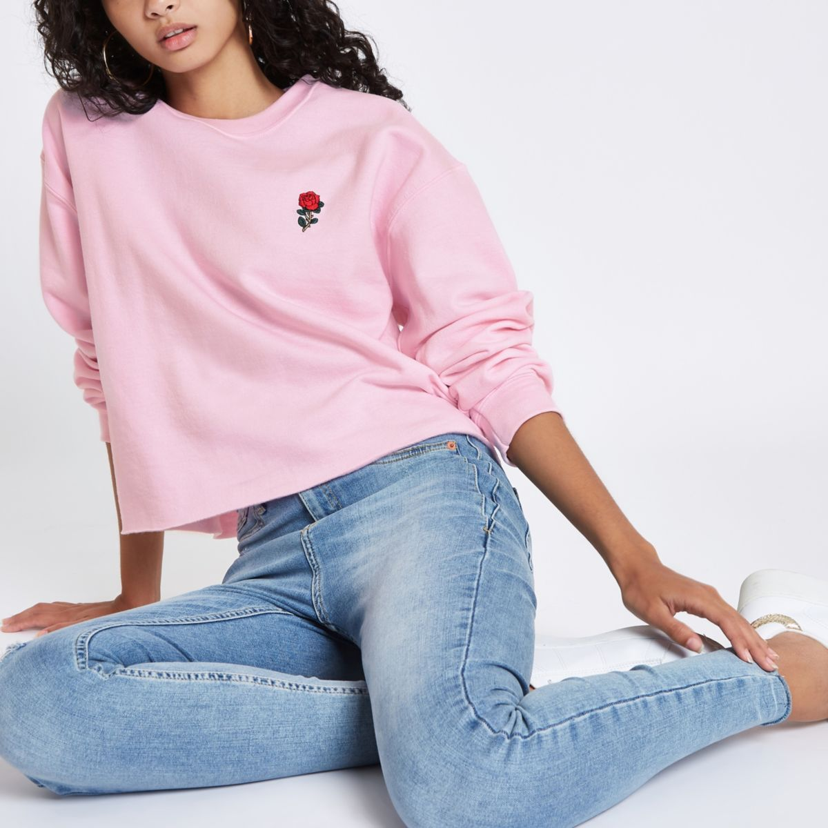 Pink rose embroidered sweatshirt