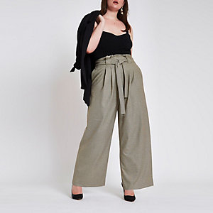 Plus grey check paperbag wide leg pants