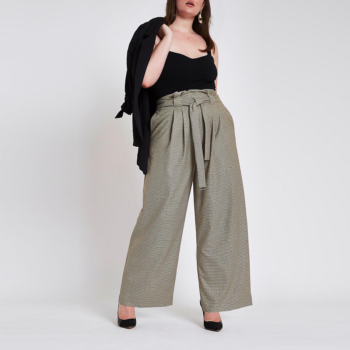 ... Plus – Pantalon large à carreaux gris avec taille haute ceinturée ... 6c9c7834074
