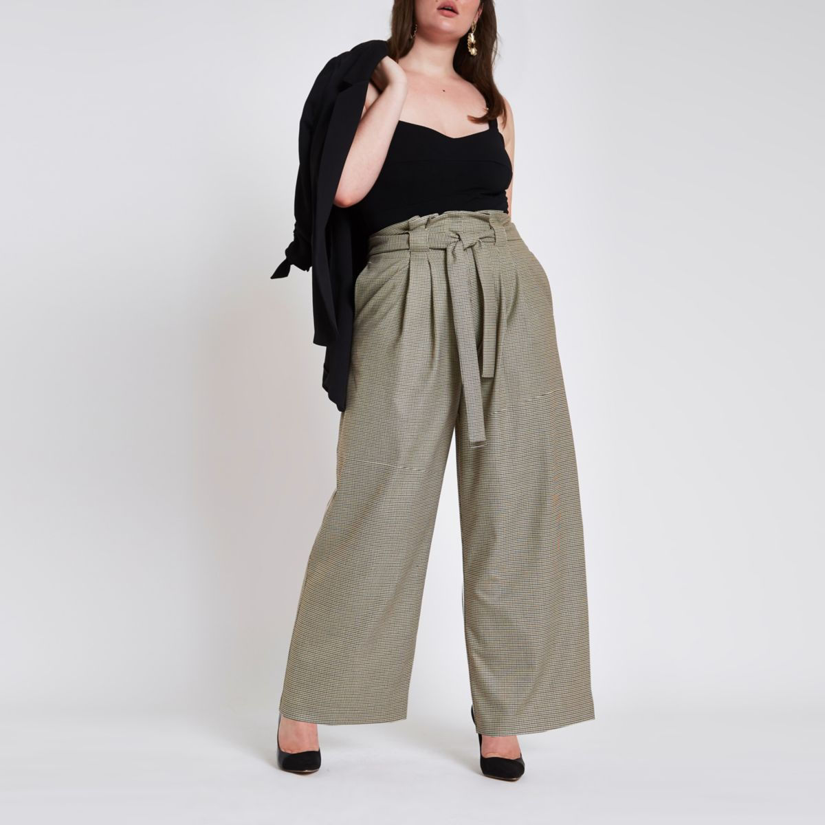 Plus grey check paper bag wide leg trousers