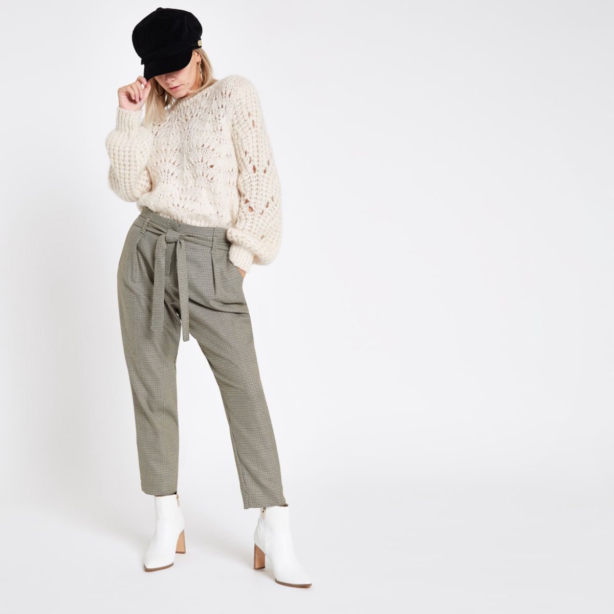 Petite grey check tie waist tapered pants