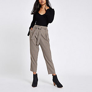 Petite brown checked tapered trousers