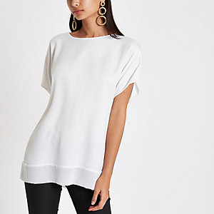 White sheer hem T-shirt